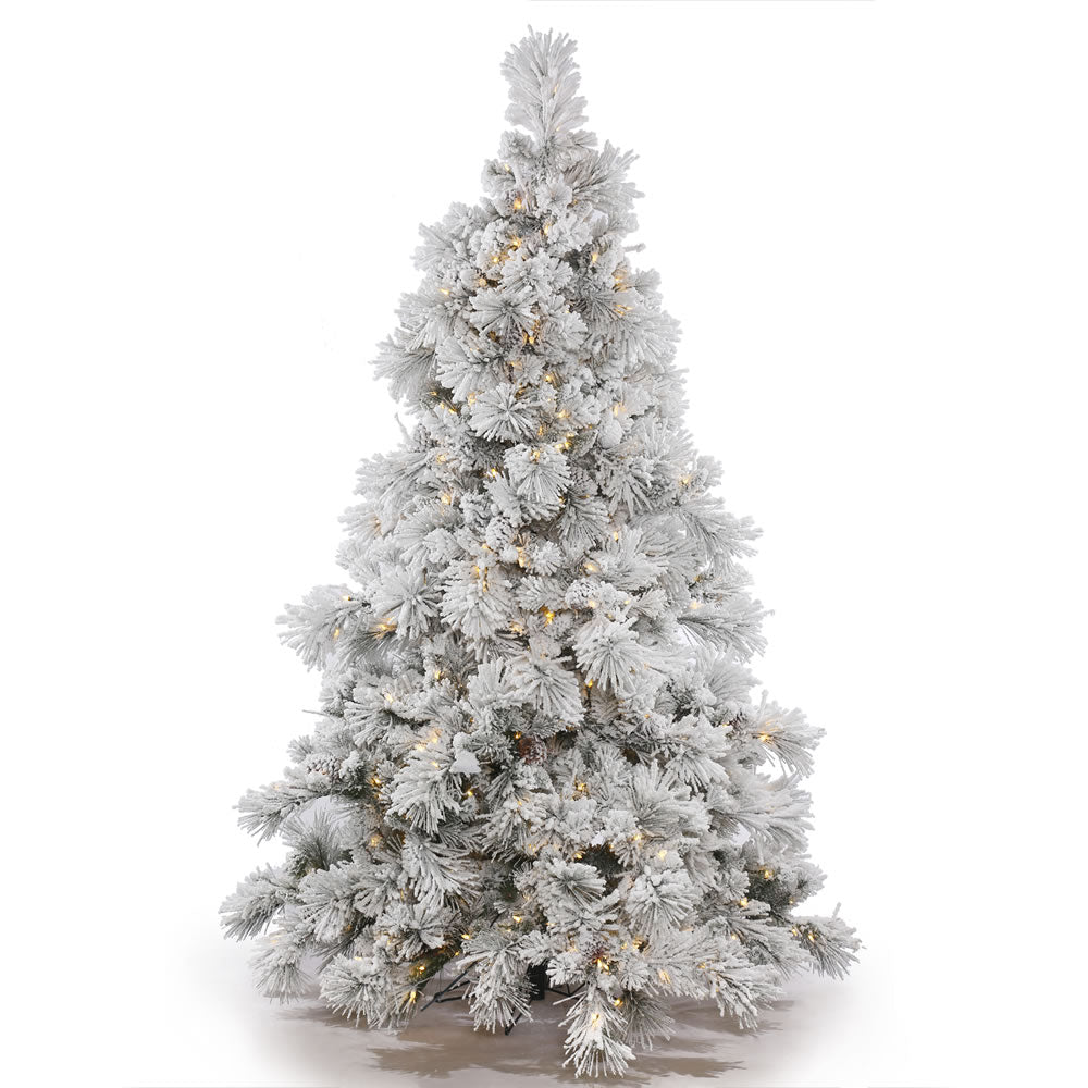 10Ft. Flocked Alberta Christmas Tree 153 Pine Cones PVC Tips 1300 Clear Lights