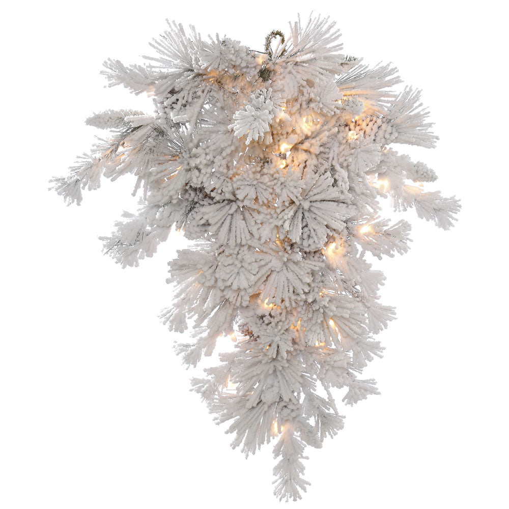 48in. Flocked Alberta Wreath 24 Pine Cones White on Green Tips 100 Clear Lights