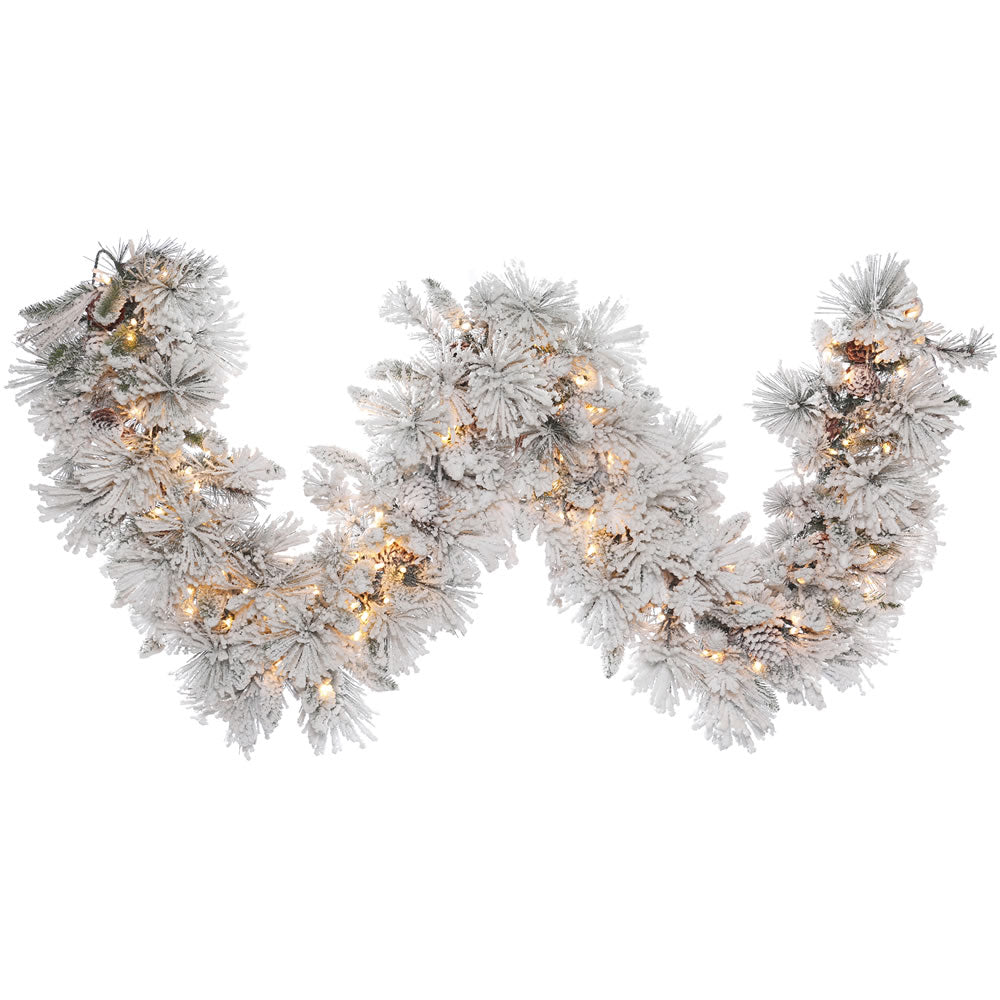 9Ft. Flocked Alberta Garland 39 Pine Cones 150 Clear Lights