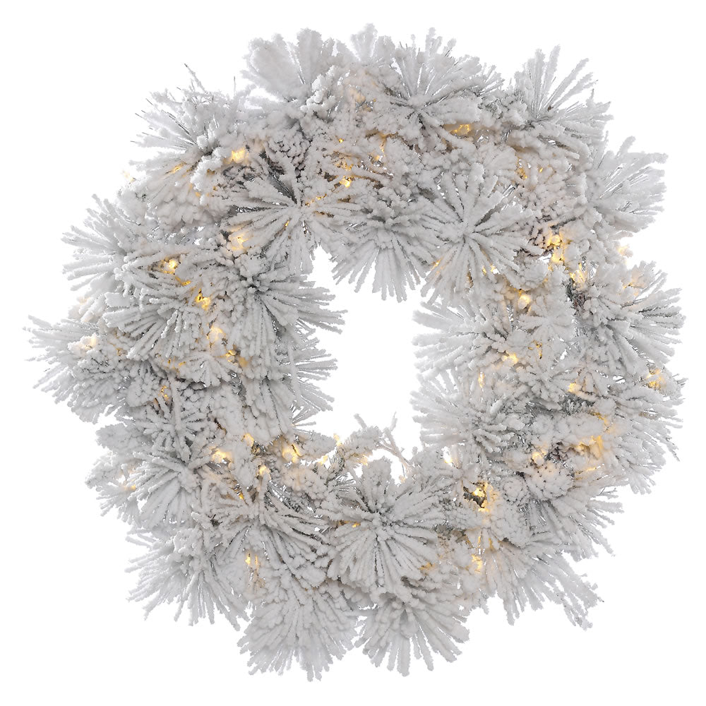 30in. Flocked Alberta Wreath 12 Pine Cones 50 Warm White LED Lights