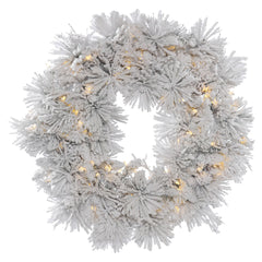 36in. Flocked Alberta Wreath 15 Pine Cones 100 Warm White LED Lights