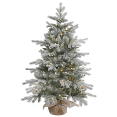 48in. Frosted Sable Pine tree 316 Frosted PE/PVC tips 100 warm white LED lights