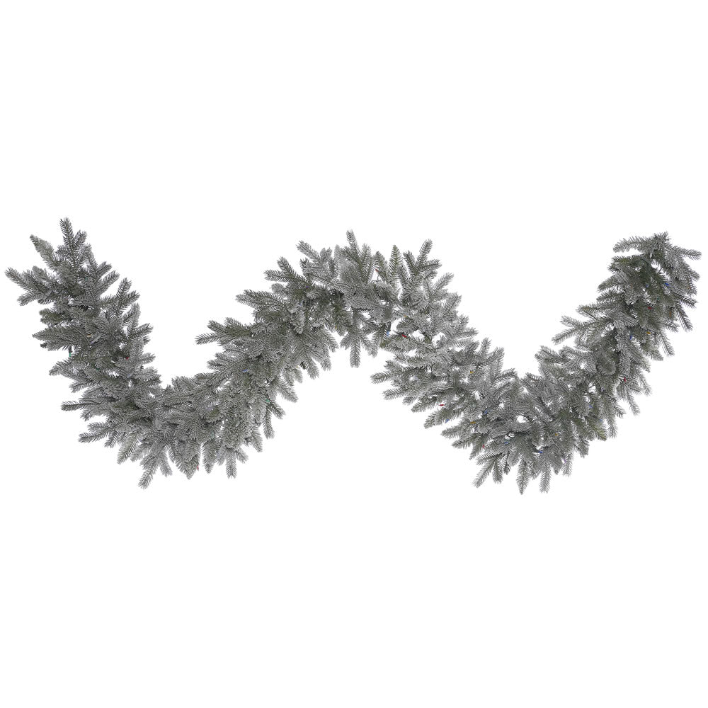 9Ft. Frosted Sable Pine Garland Iridescent Glitter 210 Frosted PE/PVC Tips