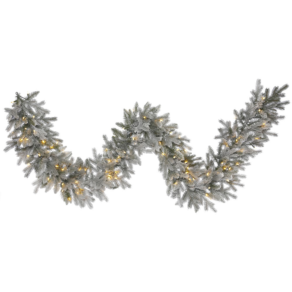 9Ft. Frosted Sable Pine Garland Iridescent Glitter 100 Warm White LED Lights
