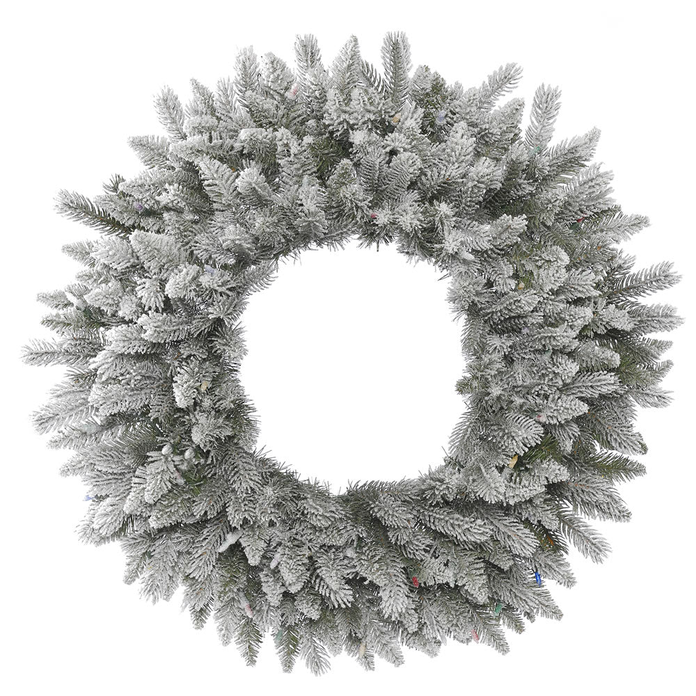24in. Frosted Sable Pine Wreath Iridescent Glitter 135 Frosted PE/PVC Tips