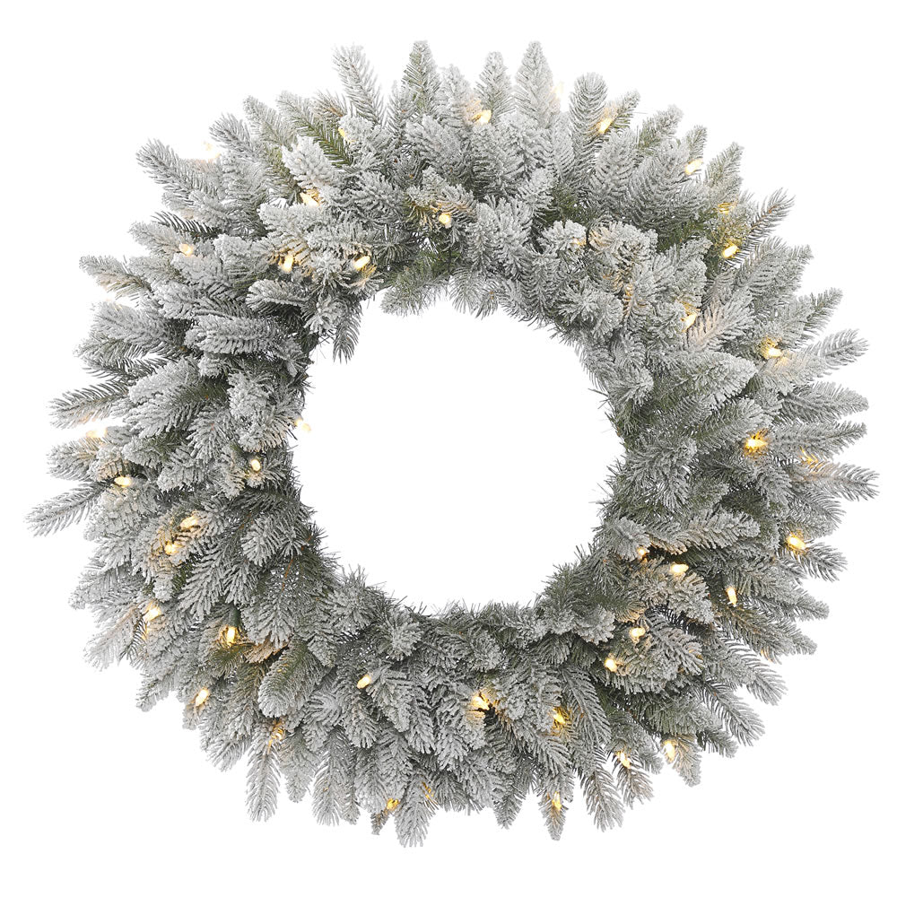 36in. Frosted Sable Pine Wreath Iridescent Glitter PE/PVC Tips 100 Clear Lights