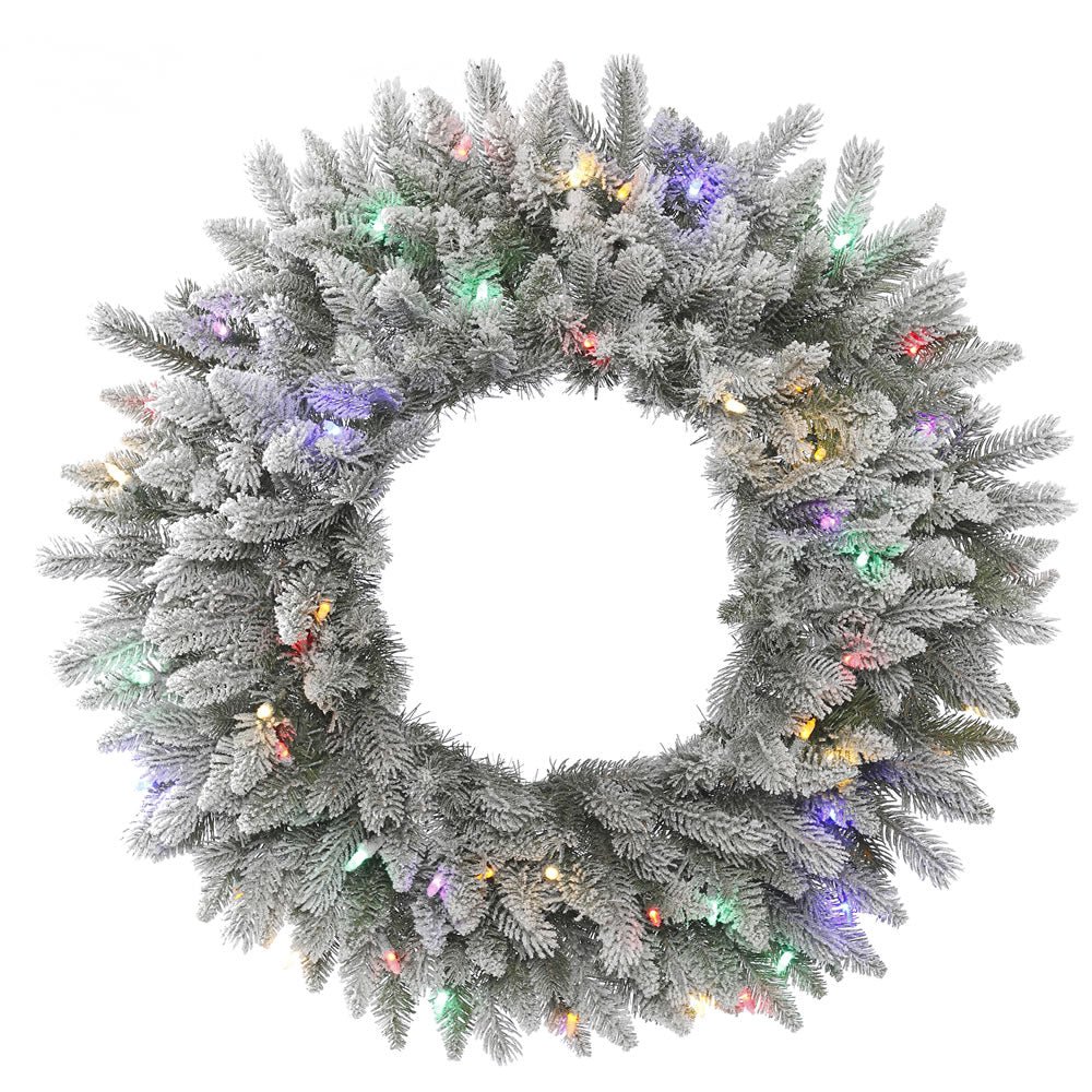 36in. Frosted Sable Pine Wreath Iridescent Glitter 100 Multi LED Lights