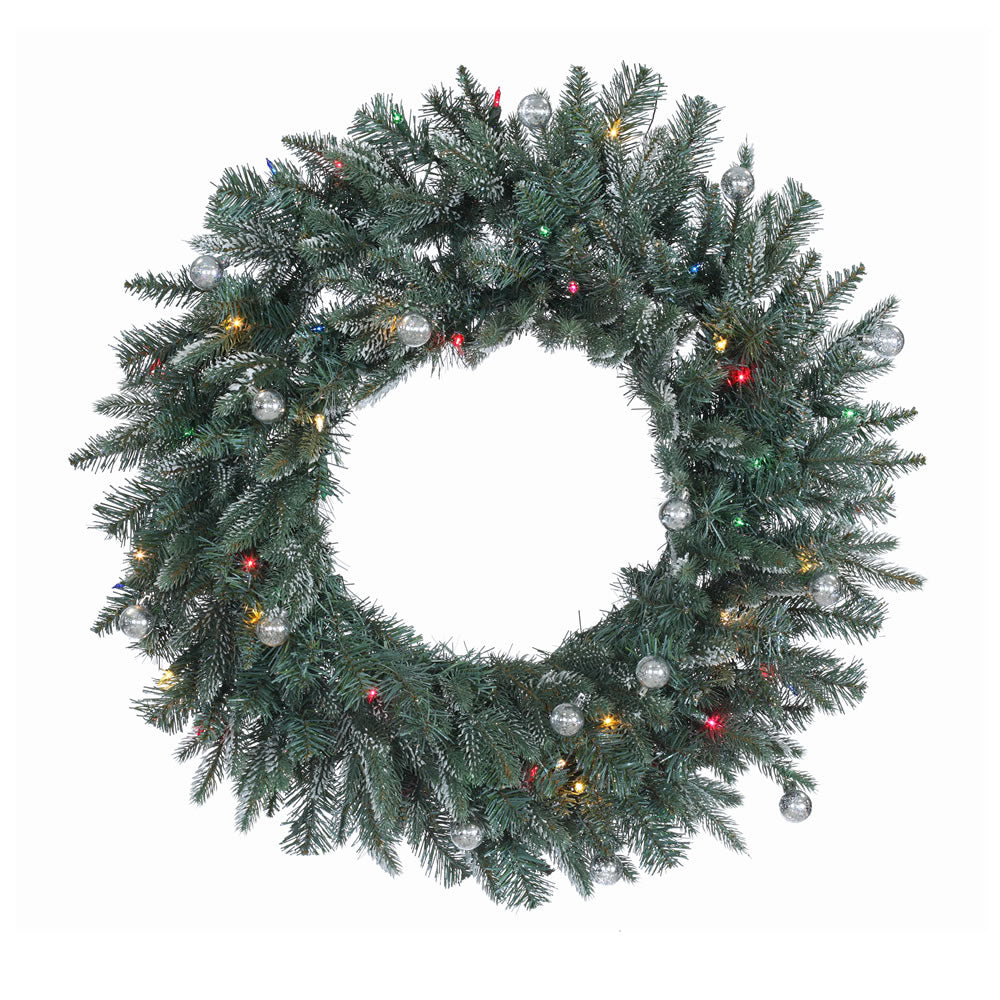 30in. Crystal Frosted Balsam Wreath 180Tips 50Multi Lights 15 Silver Balls