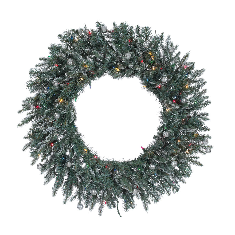 36in. Crystal Frosted Balsam Wreath 240Tips 100Multi Lights 20 Silver Balls