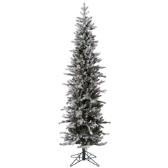 7Ft. x 25in. Frosted Glitter Tannenbaum Pine Tree 576Tips  Branches Metal Stand
