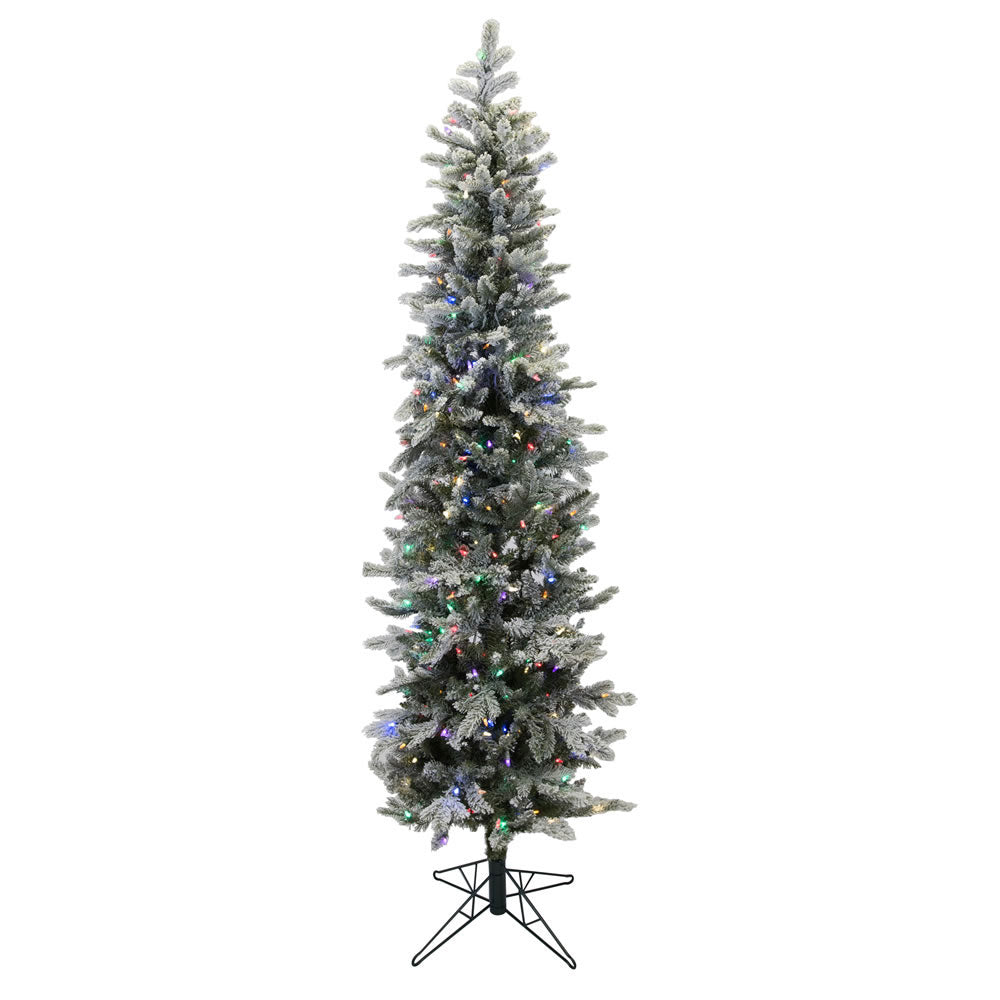 7Ft. Frosted Glitter Tannenbaum Pine Tree 576Tips 300 Led Multi Lights