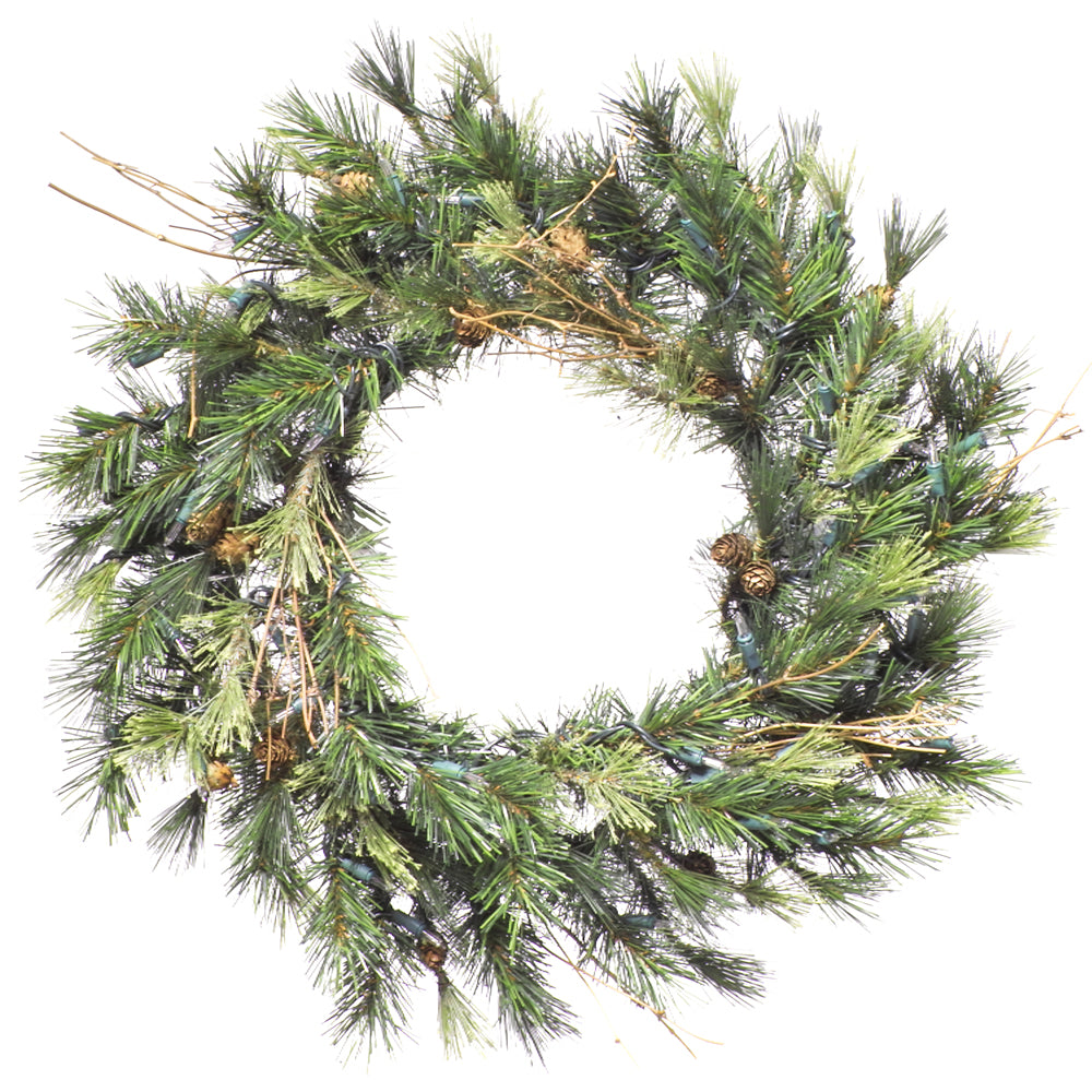 Vickerman 16in. Green 45 Tips Wreath 35 Clear Dura-Lit Lights