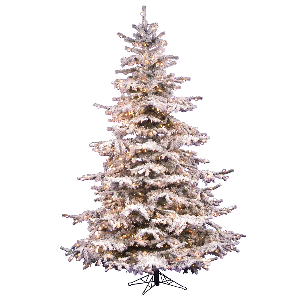 Vickerman 7.5Ft. Flocked White on Green 1324T Christmas Tree 750 Clear Dura-Lit