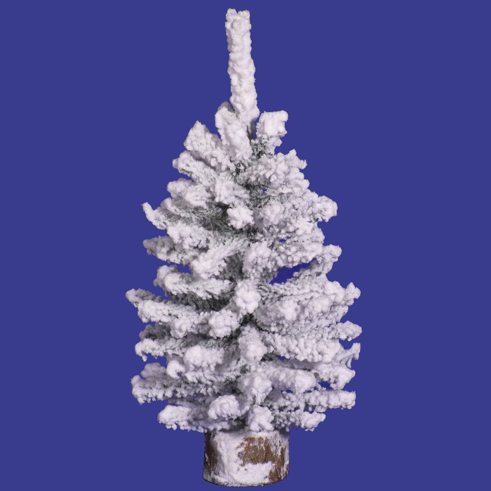 "12"" Flocked Mini Pine Tree 93T Wood Base"