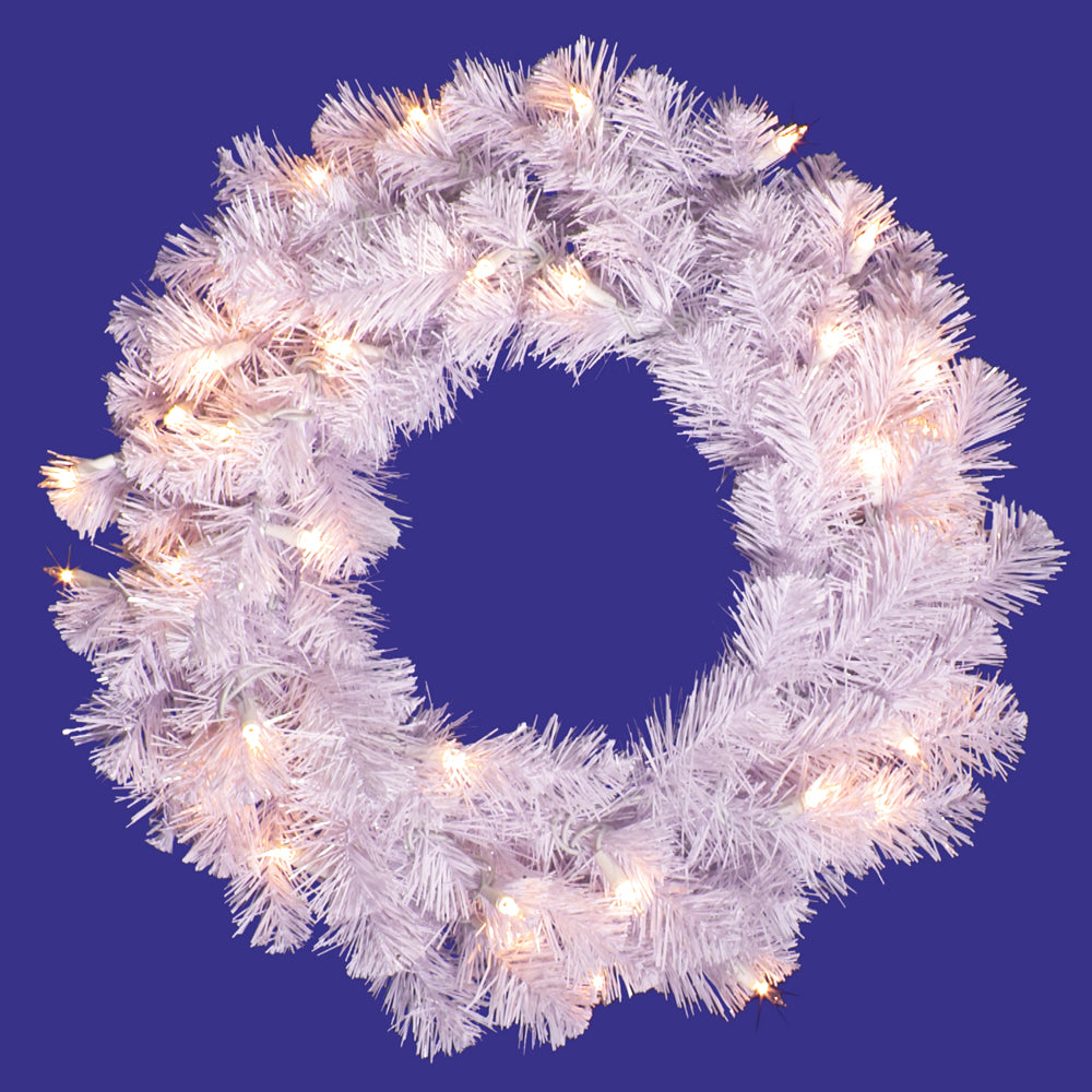 Vickerman 20in. White 90 Tips Wreath 50 Clear Dura-Lit Lights