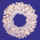 Vickerman 24in. White 110 Tips Wreath 50 Clear Dura-Lit Lights