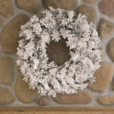 Vickerman 30in. Flocked White on Green 120 Tips Wreath_1