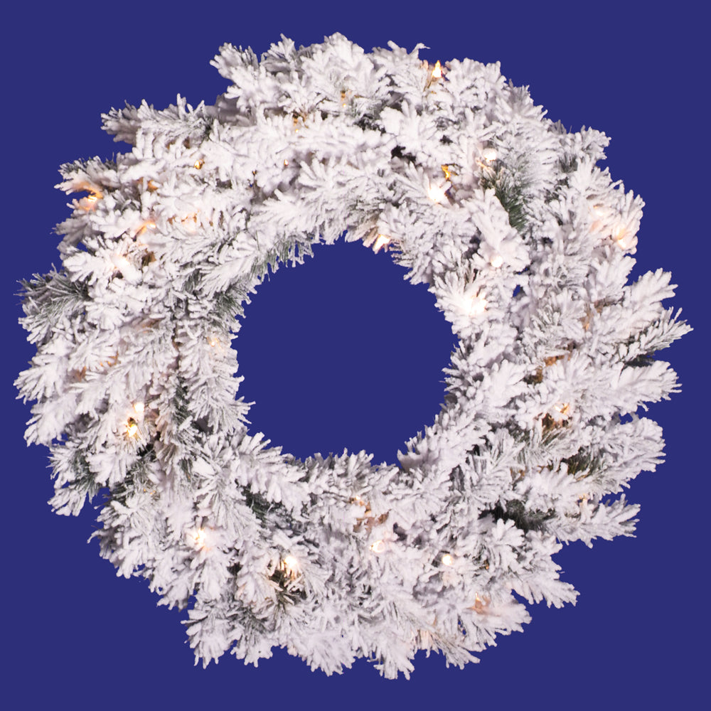 Vickerman 48in. Flocked White on Green 220 Tips Wreath