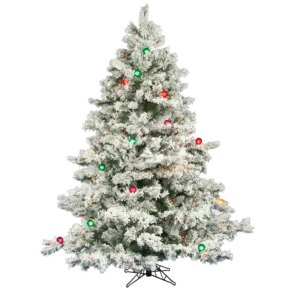 Vickerman 6.5Ft. Flocked White on Green Christmas Tree 600 Multi-color Lights