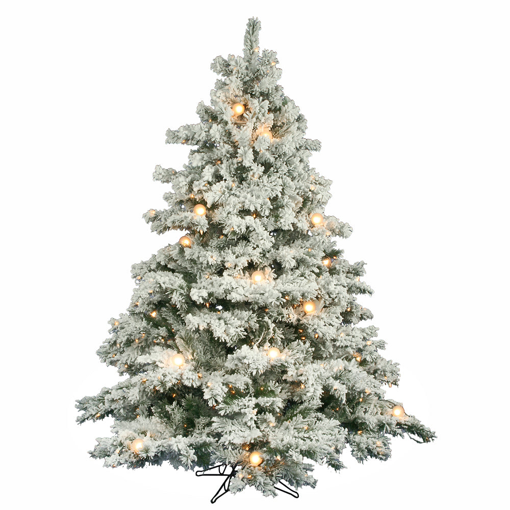 Vickerman 6.5Ft. Flocked White on Green Christmas Tree 600 Clear ...