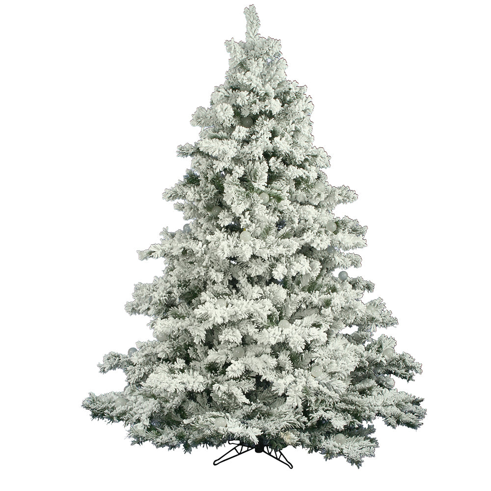 Vickerman 7.5Ft. Flocked White on Green 1495 Tips Christmas Tree