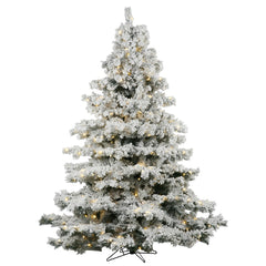 Vickerman 6.5Ft. Flocked White on Green 1045T Christmas Tree 600 Clear Dura-Lit