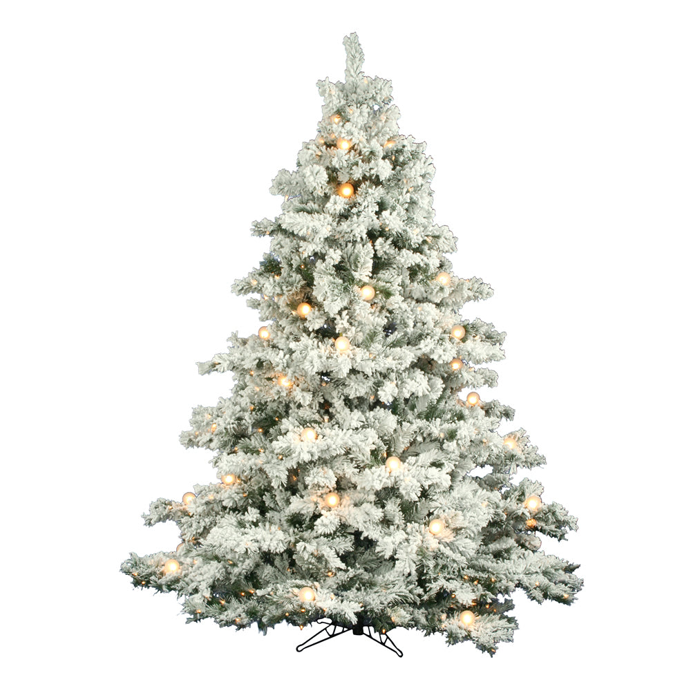 Vickerman 7.5Ft. Flocked White on Green 1495Tips Tree 800 Clear Mini Lights