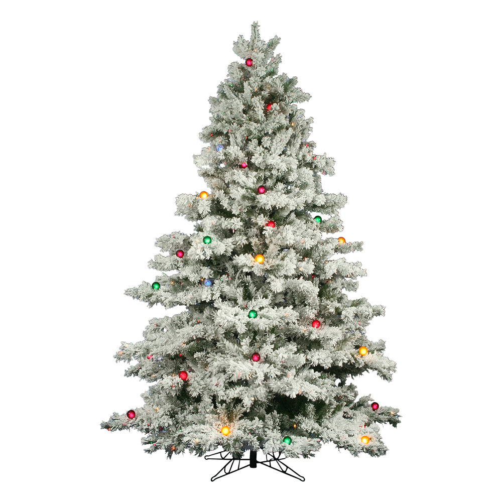 Vickerman 12Ft. Flocked White on Green Christmas Tree 1800 Multi-color Lights