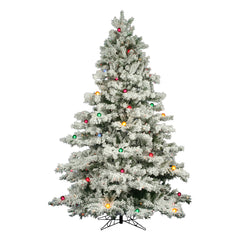 Vickerman 9Ft Flocked White on Green 2059T Christmas Tree 900 Multi-Color Lights