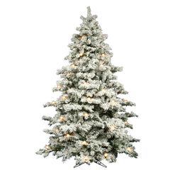 Vickerman 9Ft. Flocked White on Green 2059T Christmas Tree 900 Clear Mini Lights