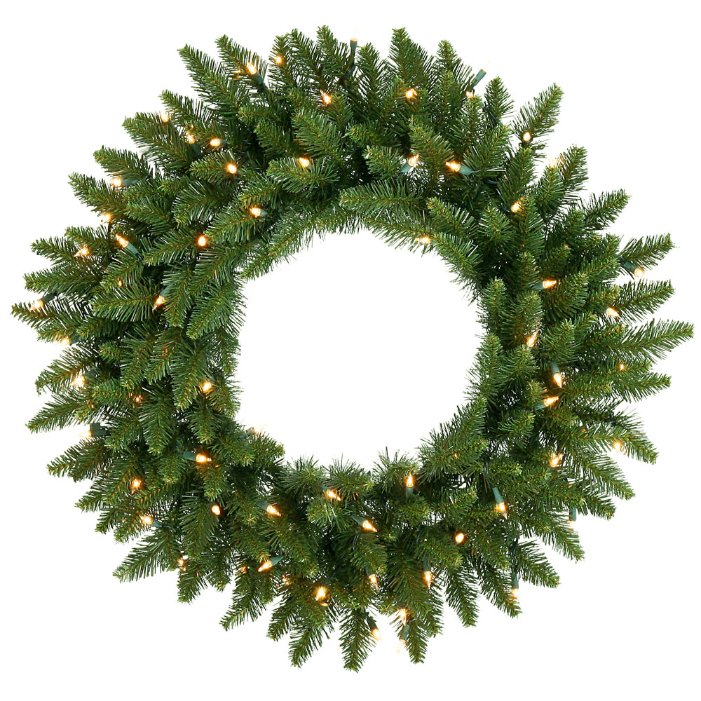 Vickerman 24in. Green 130 Tips Wreath 45 Frosted Warm White Wide Angle LED