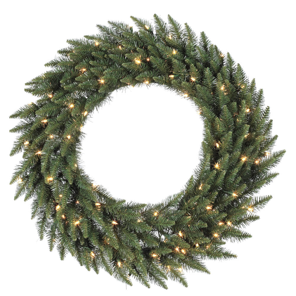Vickerman 60in. Green 780 Tips Wreath 180 Frosted Warm White Wide Angle LED