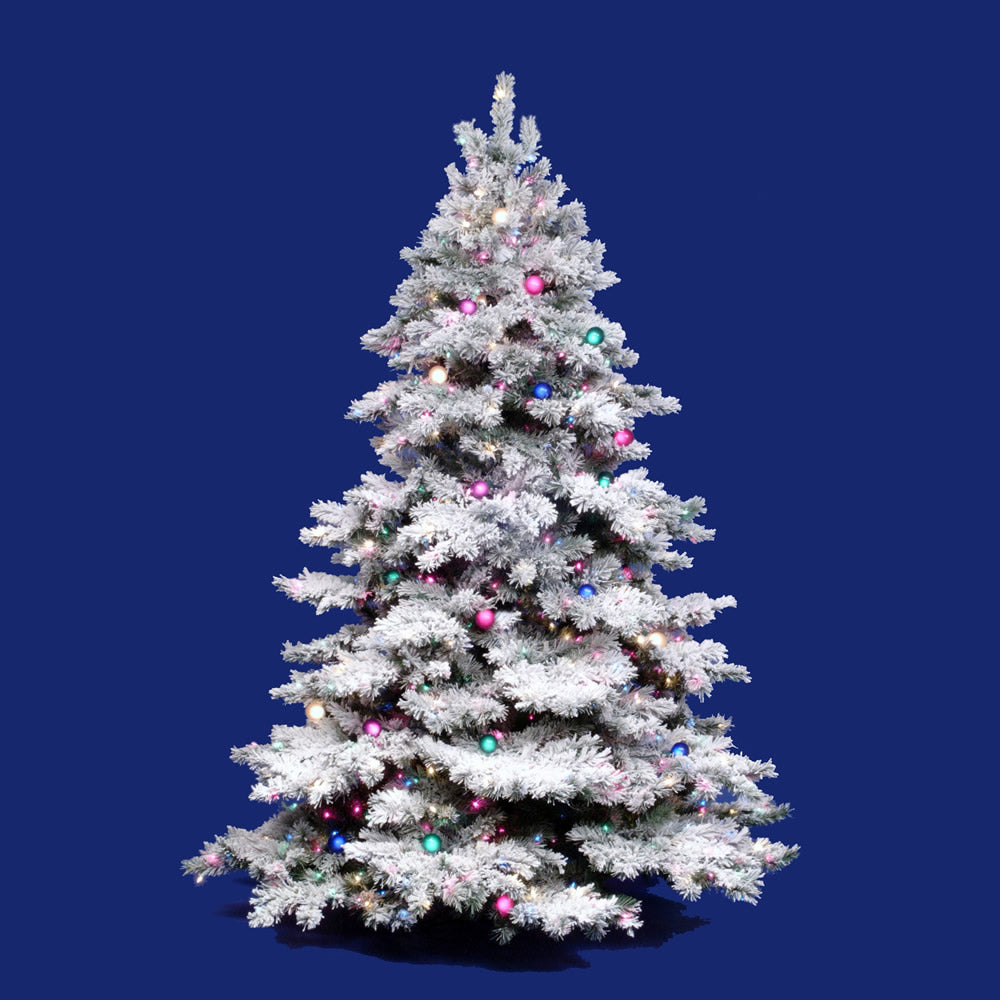 Vickerman 9Ft. Flocked White on Green Christmas Tree 1200 Multi-color Dura-Lit