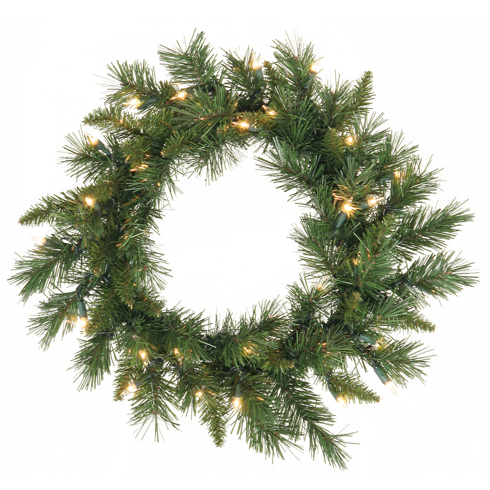 "24"" Imperial Pine Wreath 50 Warm White LED"