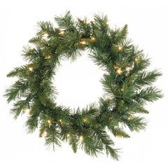 Vickerman 18in. Green 65 Tips Wreath 35 Clear Dura-Lit Lights