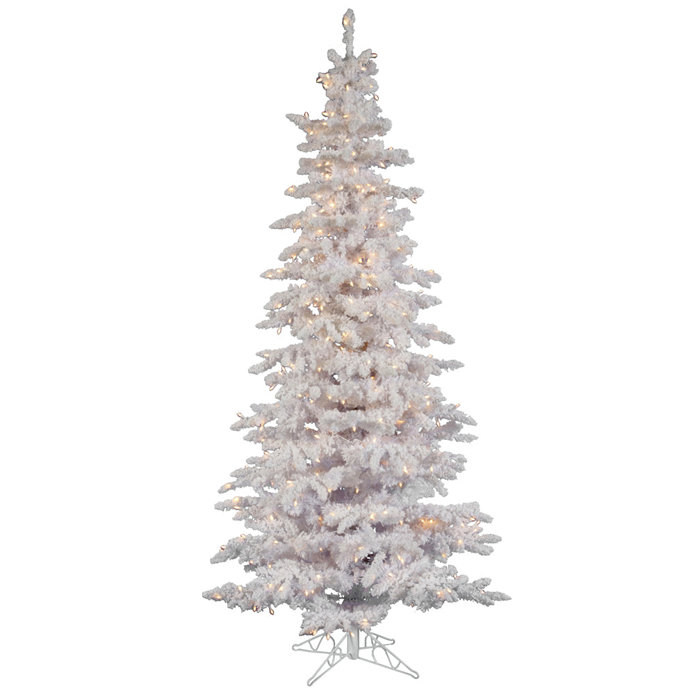 Vickerman 10Ft. Flocked White on White Tips Christmas Tree 650 Clear Dura-Lit