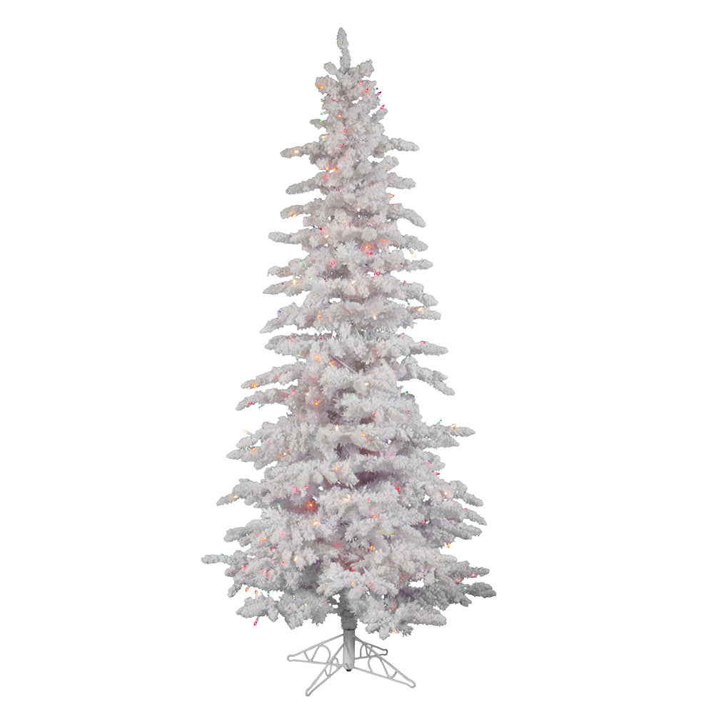 Vickerman 6.5Ft. Flocked White on White Christmas Tree 300 Multi-color Dura-Lit