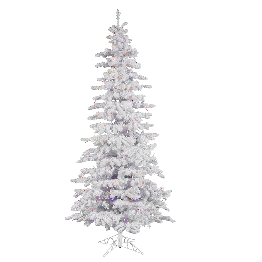Vickerman 7.5Ft. Flocked White on White 1019T Christmas Tree 440 Multi-color LED