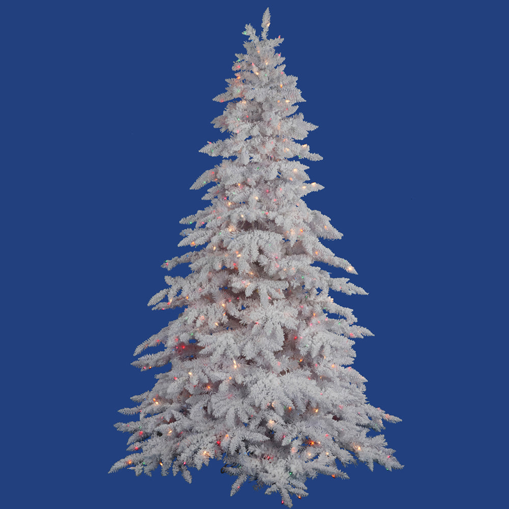 Vickerman 4.5Ft. Flocked White on White 498T Tree 225 Multi-color LED Lights