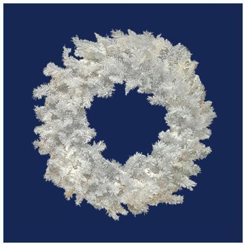 Vickerman 24in. Flocked White on White 110 Tips Wreath 50 Multi-color Dura-Lit