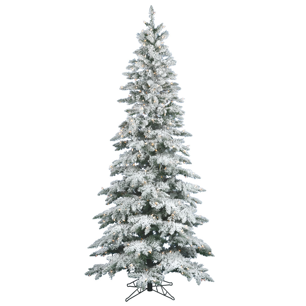 Vickerman 7.5Ft. Flocked White on Green 1019T Christmas Tree 400 Clear Dura-Lit