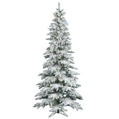 Vickerman 12Ft. Flocked White on Green 2915T Christmas Tree 1150 Clear Dura-Lit