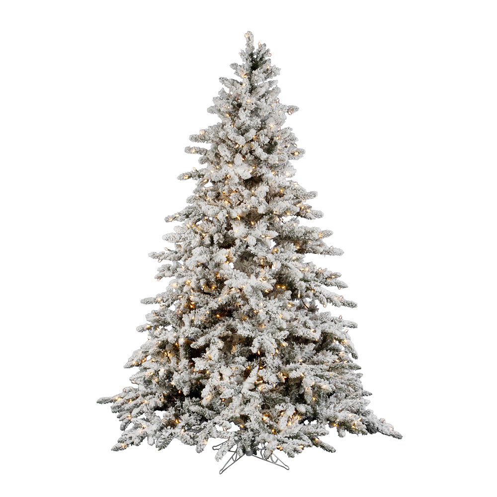 Vickerman 7.5Ft. Flocked White on Green 1650T Christmas Tree 850 Clear Dura-Lit