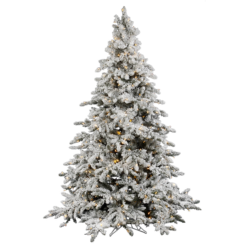 Vickerman 6.5Ft. Flocked White on Green Christmas Tree 550 Warm Wh Italian LED