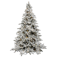 Vickerman 14Ft. Flocked White on Green Christmas Tree 2550 Warm Wh Italian LED