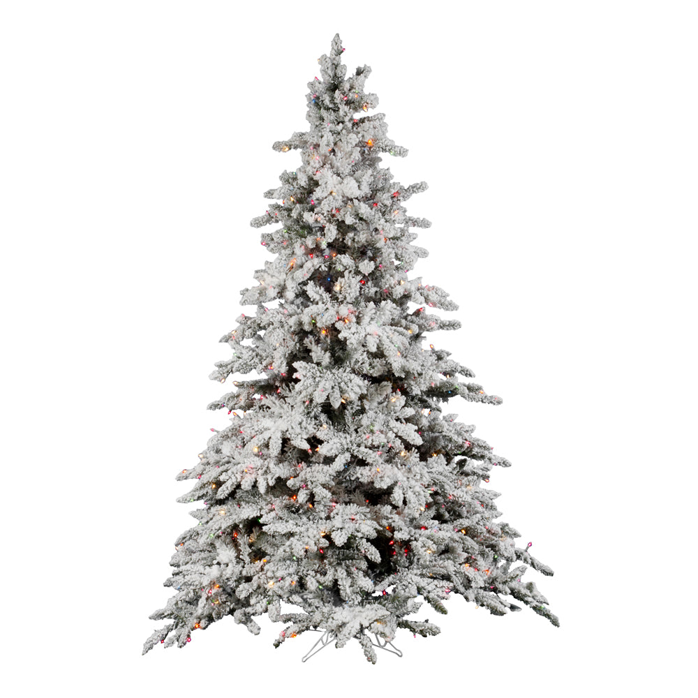Vickerman 4.5Ft. Flocked White on Green Christmas Tree 250 Multi-color Dura-Lit