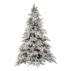 Vickerman 7.5Ft. Flocked White on Green Christmas Tree 850 Multi-color Dura-Lit
