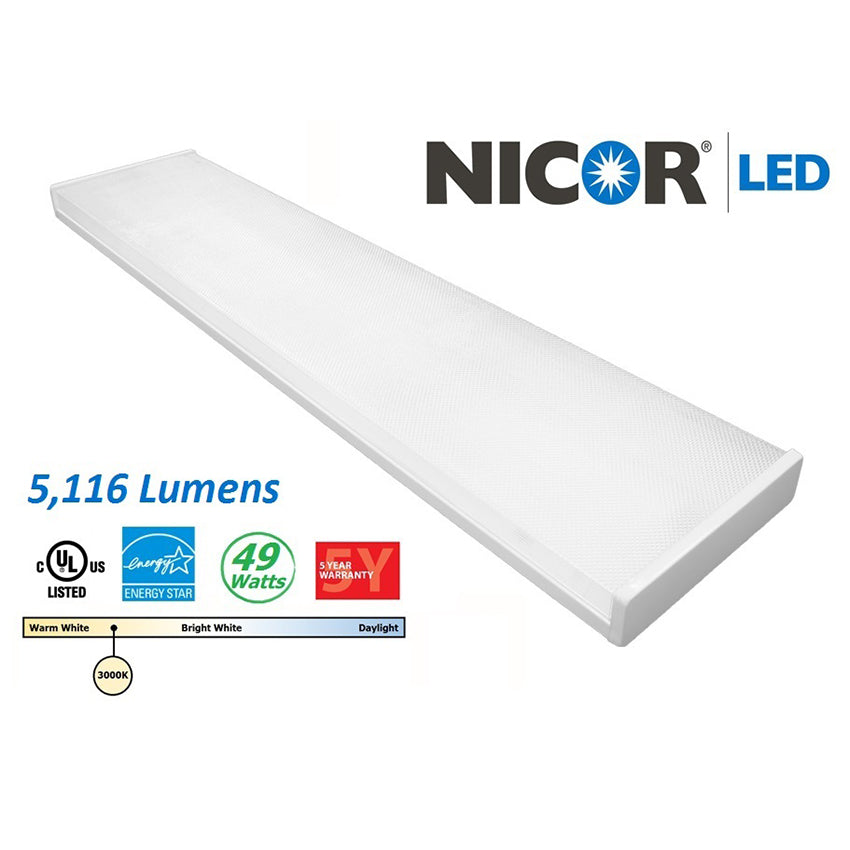 Nicor 4 Ft. High-Output Dimmable Led wraparound w/ Prismatic Acrylic Lens 3000k