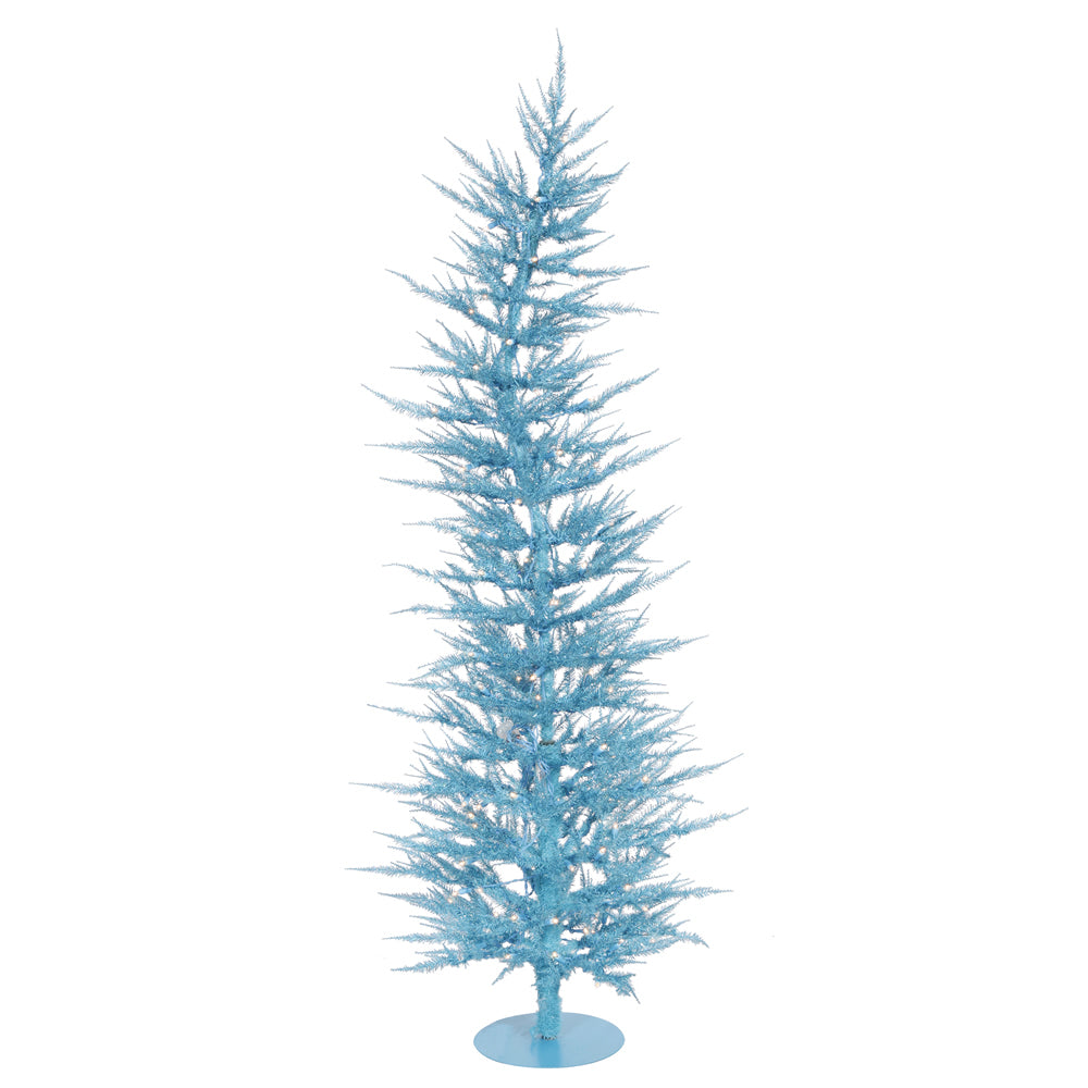 Vickerman 3' Sky Blue Laser Tree - 50 Teal Lights - 445 PVC Tips - Metal base