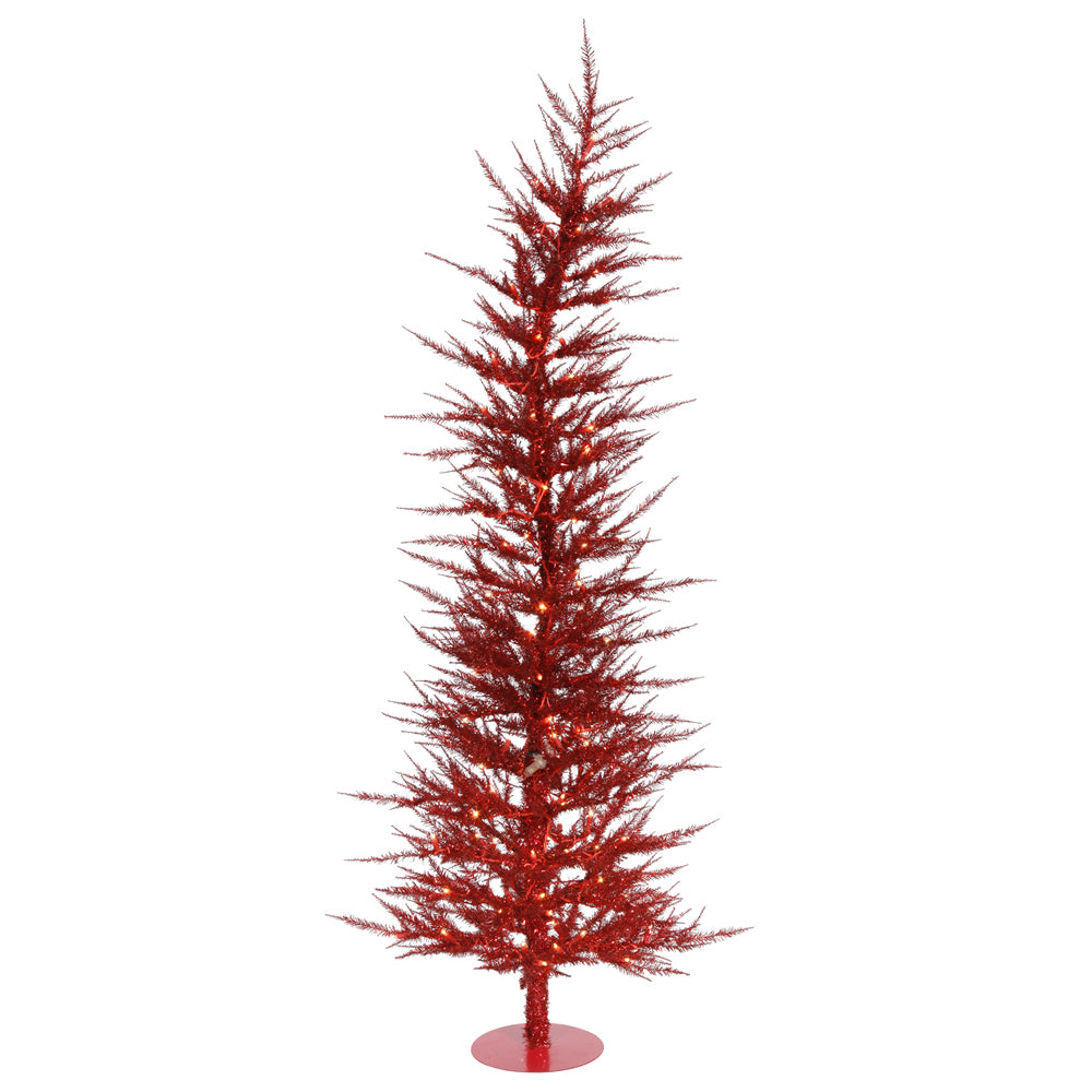 Vickerman 3' Red Laser Tree - 50 Red Lights - 445 PVC Tips - Metal base